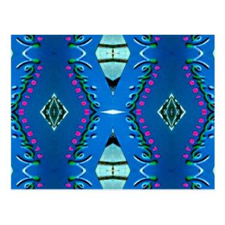 Blaues aquamarines magentarotes Stammes- Muster Postkarte