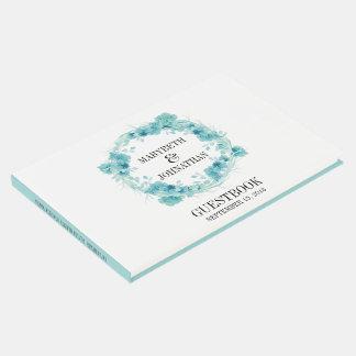 Blaues Aquarell-BlumenKranz-Hochzeits-Gast-Buch Gästebuch