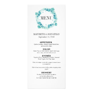 Blaues Aquarell-BlumenKranz-Hochzeits-Menü-Karte Werbekarte