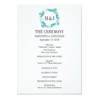Blaues Aquarell-BlumenKranz-Hochzeits-Programm Karte
