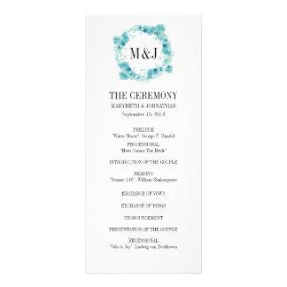 Blaues Aquarell-BlumenKranz-Hochzeits-Programm Werbekarte