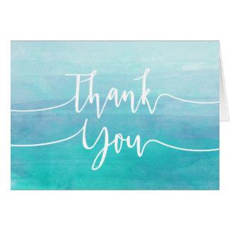 Blaues Aquarell danken Ihnen, | Ombre Aquarell zu Karte
