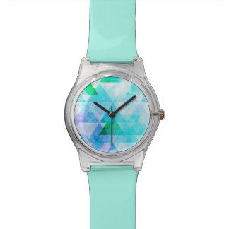 Blaues Aquarell-geometrisches Muster Uhr