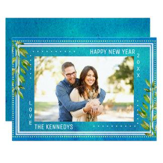 Blaues Aquarell-guten Rutsch ins Neue Jahr Karte