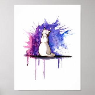 Blaues Aquarell-Miezekatze-Katzen-Plakat - Grafik Poster
