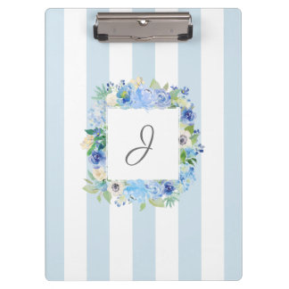 Blaues Aquarell mit Blumen und Streifen mit Klemmbrett