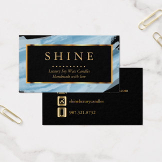 Blaues Aquarell und Gold Visitenkarte