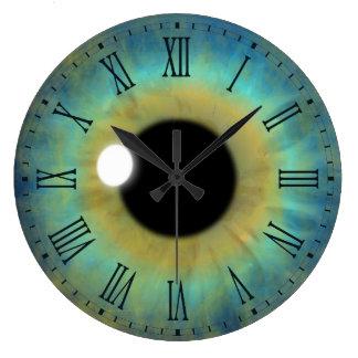 Blaues Augen-Iris-Augapfel-große runde römische Große Wanduhr