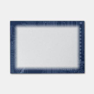 Blaues Aussenseiter-Motherboard-Stromkreis-Muster Post-it Klebezettel