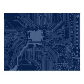 Blaues Aussenseiter-Motherboard-Stromkreis-Muster Postkarte