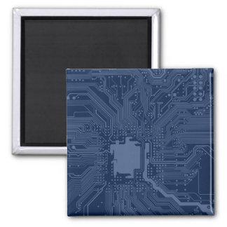 Blaues Aussenseiter-Motherboard-Stromkreis-Muster Quadratischer Magnet