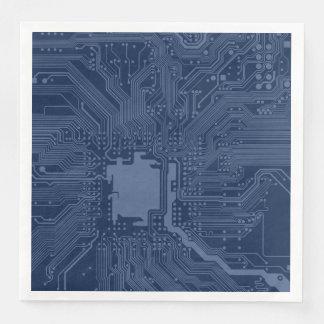 Blaues Aussenseiter-Motherboard-Stromkreis-Muster Serviette
