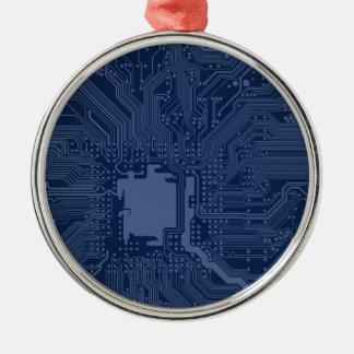 Blaues Aussenseiter-Motherboard-Stromkreis-Muster Silbernes Ornament