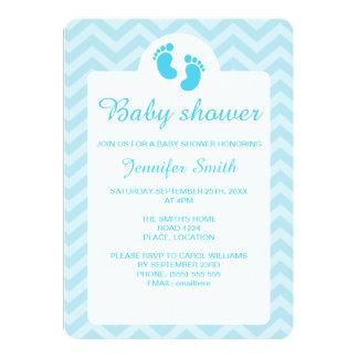 Blaues Baby-Abdruck-Silhouette-Baby-Dusche 12,7 X 17,8 Cm Einladungskarte