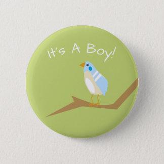 Blaues Baby-Duschechic-Natur-blaues Runder Button 5,7 Cm