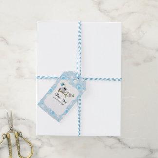 Blaues Baby-Eulen-Babyparty danken Ihnen Geschenkanhänger