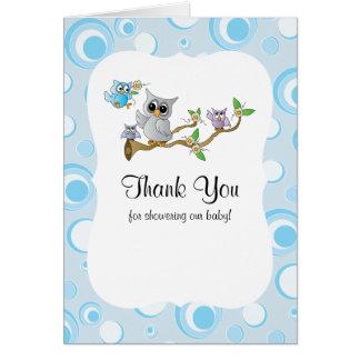 Blaues Baby-Eulen-Babyparty danken Ihnen Karte