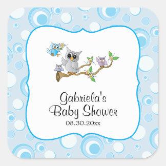 Blaues Baby-Eulen-Babyparty-Thema Quadratischer Aufkleber