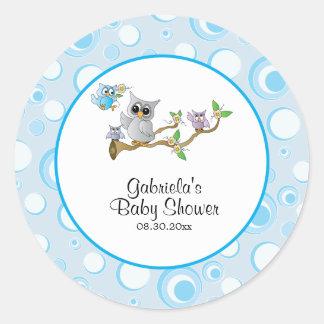 Blaues Baby-Eulen-Babyparty-Thema Runder Aufkleber