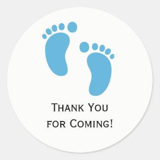 Blaues Baby-Fuß-Babyparty-Aufkleber-Aufkleber Runder Aufkleber