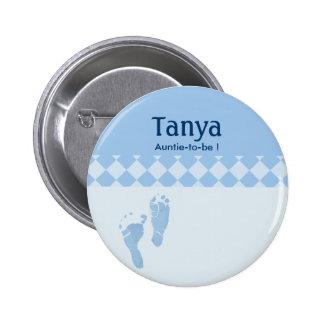 Blaues Baby-Fuß-Babyparty-Namensschild-Knopf Runder Button 5,1 Cm