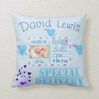 Blaues Baby-Jungen-Foto-Kinderzimmer-Andenken Kissen