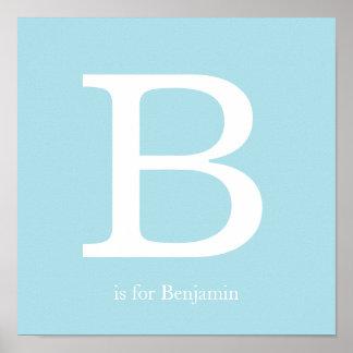 Blaues Baby-Kinderzimmer-Monogramm Poster