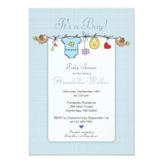 Blaues Baby kleidet | Babyparty-Einladung 12,7 X 17,8 Cm Einladungskarte