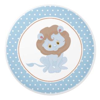 Blaues Baby-Löwe-Tupfen Keramikknauf