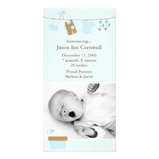 Blaues Baby-Wäscherei-Geburts-Mitteilung Foto Grußkarte