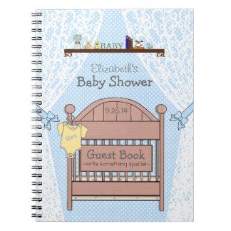 Blaues Babyparty-Gast-Buch Spiralblöcke