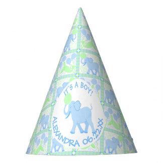 Blaues Babyparty-Jungen-Elefant-Muster des Partyhütchen