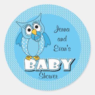 Blaues Babyparty-Thema der Tupfen-Eulen-| Runder Aufkleber
