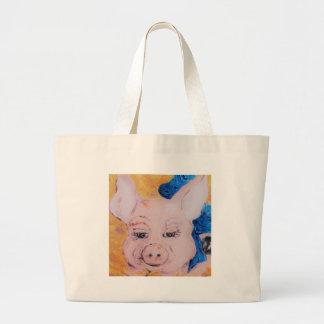 Blaues Band-Schwein Jumbo Stoffbeutel