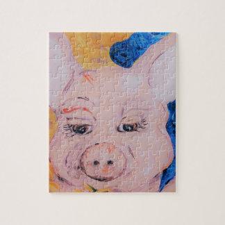 Blaues Band-Schwein Puzzle