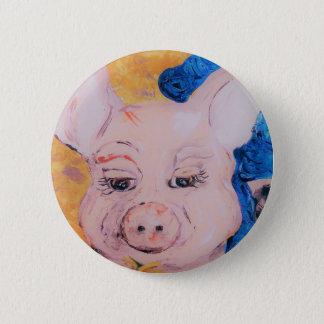 Blaues Band-Schwein Runder Button 5,7 Cm