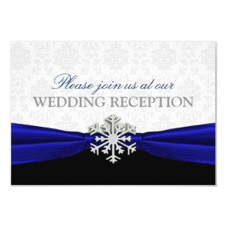 Blaues Band-Winter-Hochzeits-Empfang 8,9 X 12,7 Cm Einladungskarte