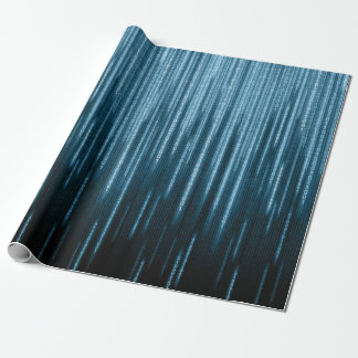 Blaues binäres Regen-Packpapier Geschenkpapier
