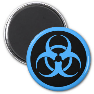 Blaues Biogefährdung-Symbol Runder Magnet 5,7 Cm