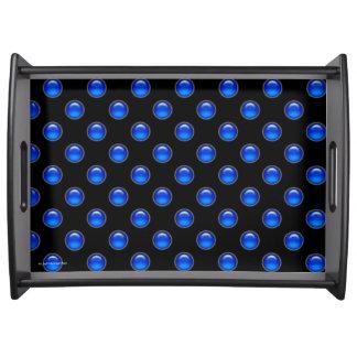 Blaues Blasen-Schwarzes Serviertablett