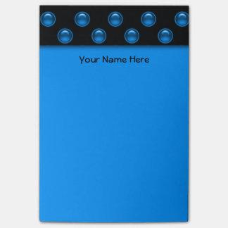 Blaues Blasen-Schwarzes Post-it Haftnotiz