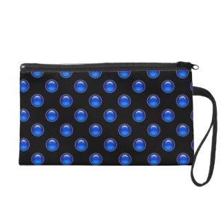 Blaues Blasen-Schwarzes Wristlet Handtasche