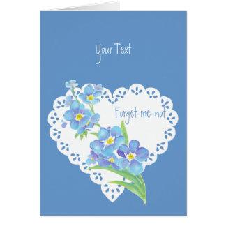 Blaues Blumen der kundenspezifischen Text Karte
