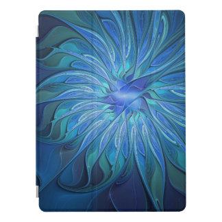 Blaues Blumen-Fantasie-Muster, abstrakte iPad Pro Cover