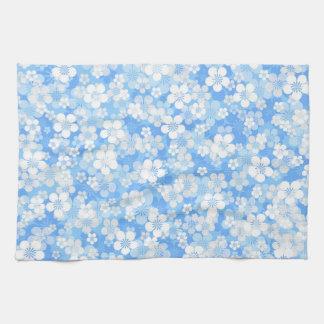 Blaues Blumen-Muster-Küchen-Tuch Handtuch