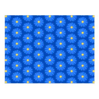 Blaues Blumen-Muster Postkarten