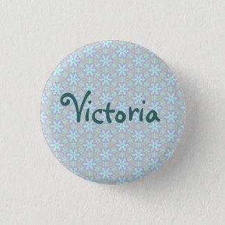 Blaues Blumen-Namen-Abzeichen-Knopf-Button Runder Button 3,2 Cm