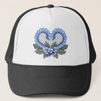 Blaues Blumenblatt-Herz mit Masche Truckerkappe