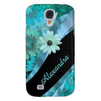 Blaues Blumenmuster des hübschen Aqua Galaxy S4 Hülle