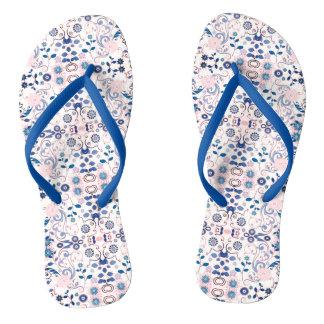 Blaues Blumenmuster Flip Flops